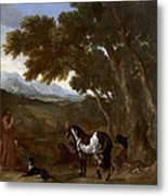 Landscape With Hermit Preaching To Animals Metal Print