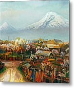 Landscape With Mountain Ararat From The Village Aintap Metal Print