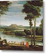 Landscape With St. John Baptising Metal Print