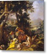 Landscape With The Ministry Of John The Baptist Metal Print