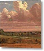 Landscape With Wheatfield Cornfield Under Heavy Cloud Metal Print