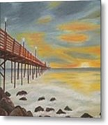 Landscapes Art - Sunset On The Rocks Oil Painting Metal Print