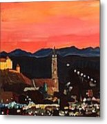 Landshut At Dawn With Alps Metal Print