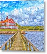 Landskrona Sea Shore Painting Metal Print