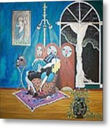 Languid Lady In A Chair Brooding Over Poetry Metal Print