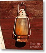 Lantern On Red Metal Print