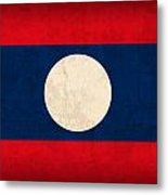 Laos Flag Vintage Distressed Finish Metal Print