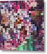 Large Blocks Digital Abstract - Purples Metal Print