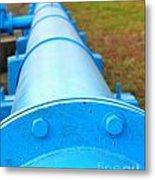 Large Blue Pipeline Metal Print