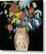 Large Bouquet On A Black Background Metal Print by Odilon Redon