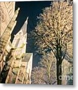 Large Stone Church At Night Metal Print