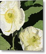 Large White Flowers Abstract Metal Print