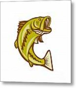 Largemouth Bass Jumping Cartoon Metal Print