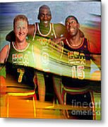 Larry Bird Michael Jordon And Magic Johnson Metal Print by Marvin Blaine