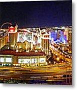 Las Vegas At Night - Panorama Metal Print