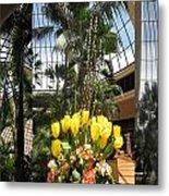 Las Vegas Attrium Architecture N Interior Decorations Casinos Resorts Hotels Flowers Sky Green Signa Metal Print