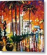 Las Vegas - Palette Knife Oil Painting On Canvas By Leonid Afremov Metal Print