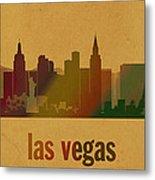 Las Vegas Skyline Watercolor On Parchment Metal Print