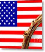 Lasso And American Flag Metal Print