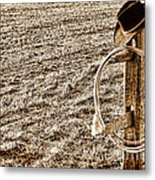 Lasso And Hat On Fence Post Metal Print