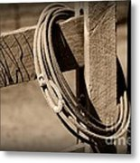 Lasso On Fence Post Rustic Metal Print
