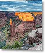 Last Light On Spider Rock Canyon De Chelly Navajo Nation Chinle Arizona Metal Print