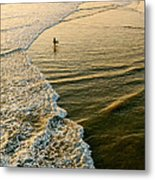 Last Wave - Lone Surfer Waiting For The Perfect Wave In Huntington Beach Metal Print