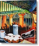 Late At Cafe Du Monde Metal Print