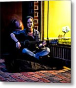 Late Night Busking Metal Print