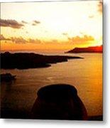 Late Sunset Santorini  Island Greece Metal Print