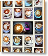 Latte Art Collage Metal Print