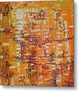 Lattice Animals Abstract Oil Painting By Regina Valluzzi Metal Print