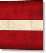Latvia Flag Vintage Distressed Finish Metal Print
