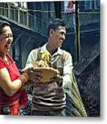 Laughing Couple Doing Puja Metal Print