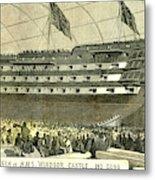 Launch Of Hms. Windsor Castle 140 Guns 1852 Metal Print