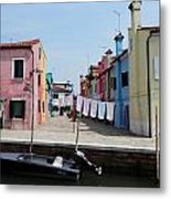 Laundry Day In Burano Metal Print