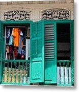 Laundry Hanging Seen Through Open Wood Shutter Windows Singapore Metal Print