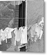 Laundry I Black And White Venice Italy Metal Print