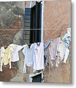 Laundry I Color Venice Italy Metal Print