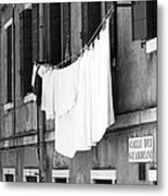 Laundry IIi Black And White Venice Italy Metal Print