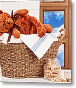 Laundry With Teddy Metal Print