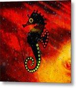 Lava Loving Seahorse Metal Print