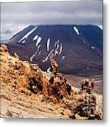 Lava Sculptures And Volcanoe Mount Ngauruhoe Nz Metal Print