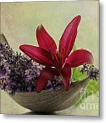Lavender Boat With Lilies Metal Print