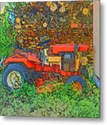 Lawn Tractor And Wood Pile Metal Print