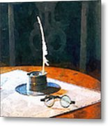 Lawyer - Quill And Spectacles Metal Print