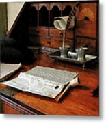 Lawyer - Quill Papers And Pipe Metal Print