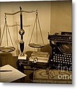 Lawyer - The Lawyer's Desk In Black And White Metal Print
