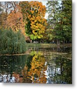 Lazienki Park Autumn Scenery In Warsaw Metal Print