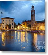 Lazise Harbor Night Scenic Metal Print